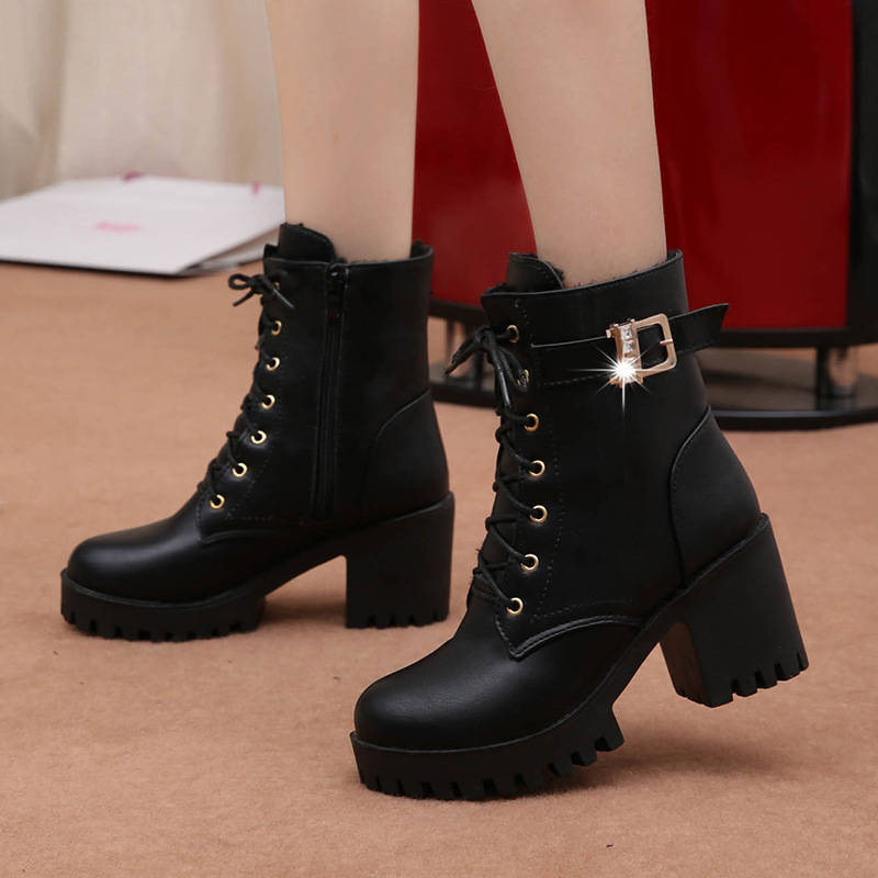 2019 Spring And Autumn High-heeled Shoes Thick-soled British Style Women's Shoes Round Thick With Women's Shoes 78yu