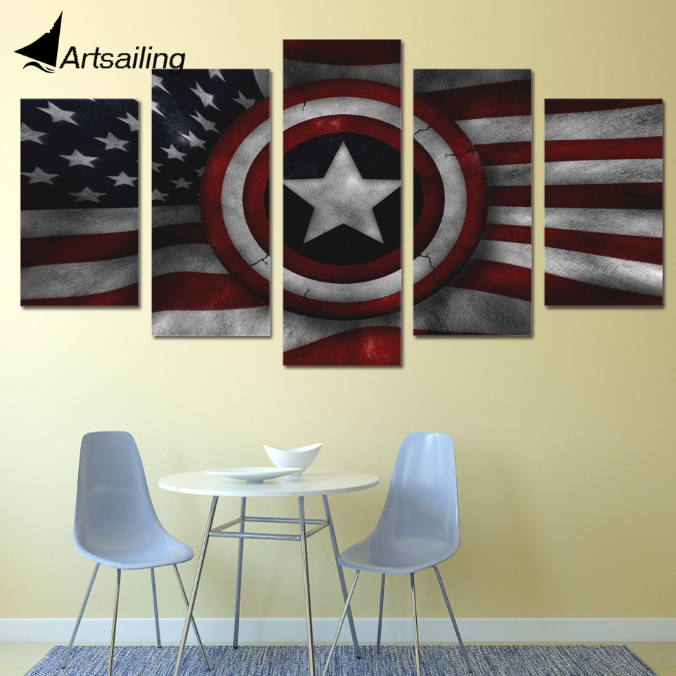 5-dílné plátno Art Captain Shield Printed Wall Art Home Decor Canvas Painting Picture Poster and Prints Doprava zdarma XA1283