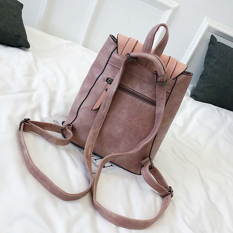Image 4 - Women Leather Backpacks For Teenage Girls School Bags Sac a Dos Preppy Style Female Backpack Mochilas Retro Rucksack 2020 XA104HBackpacks   -