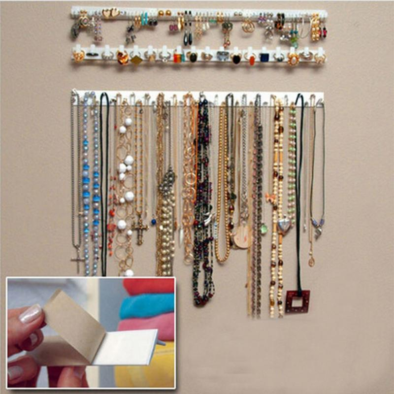 New 9 in 1 Adhesive Paste Wall Hanging Storage Jewelry Hooks Jewelry Display Organizer Necklace Hanger(China)