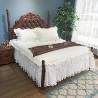 Solid Cream White Beige Color Ruffled Lace Girls Bedskirt Quilted Cotton Bedspread 3Pcs 180X200cm 2 Corners Split Bedskirt set
