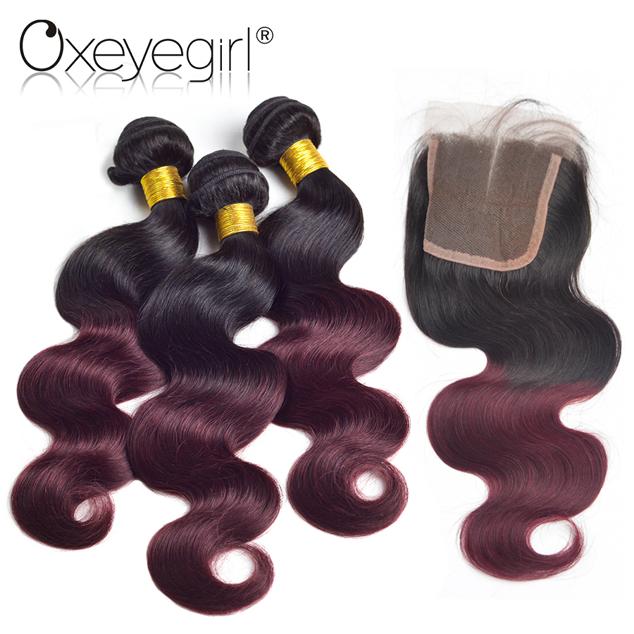 Ombre Body Wave Bundles Human Hair Bundles With Closure Nonremy 1B/99j 3Pcs Brazilian Hair Weave Bundles With Closure Oxeye girl