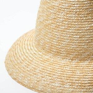 Image 4 - USPOP 2020 yeni kadın yüksek üst hasır şapka doğal buğday samanı güneş şapkası moda yaz kadın plaj şapkası
