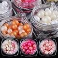 1 Caja de Colores Concha Peral Mate Perlas Multi-tamaño 3D Manicura Nail Art Decoration 12 Colores