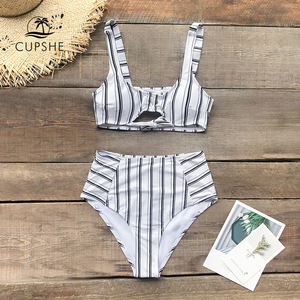 Image 3 - CUPSHE Boho Navy And White Vertical Stripe High Waist Bikini Sets 2020 Women Cutout Two Pieces Swimsuits