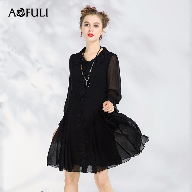 Aofuli L 5xl Plus Size Dress 2018 Spring New Women Flare Long Sleeve