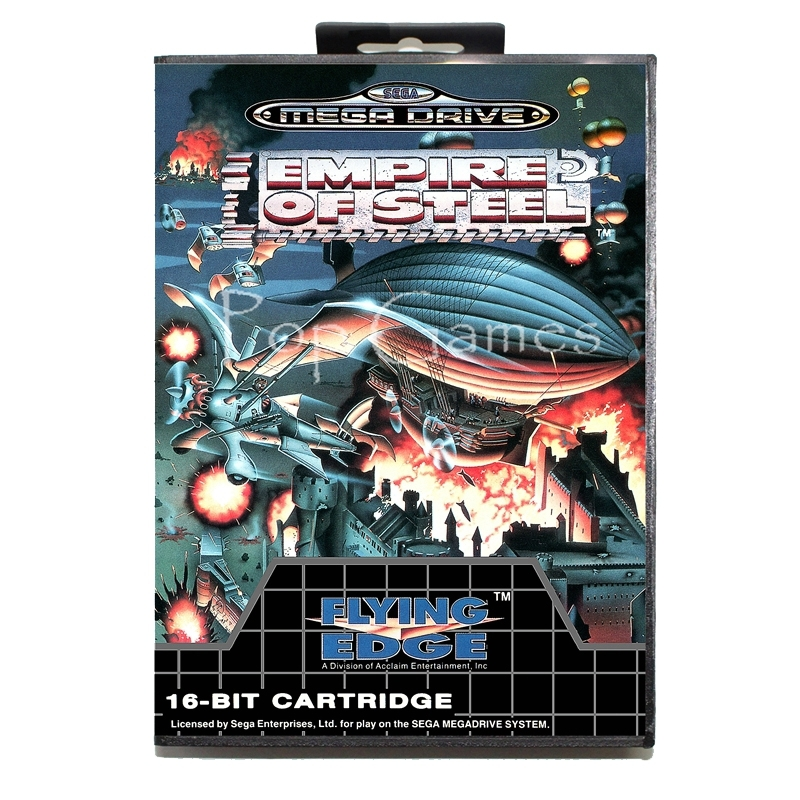 Empire of Steel with Box for 16 bit Sega MD Game Card for Mega Drive for Genesis Video Console