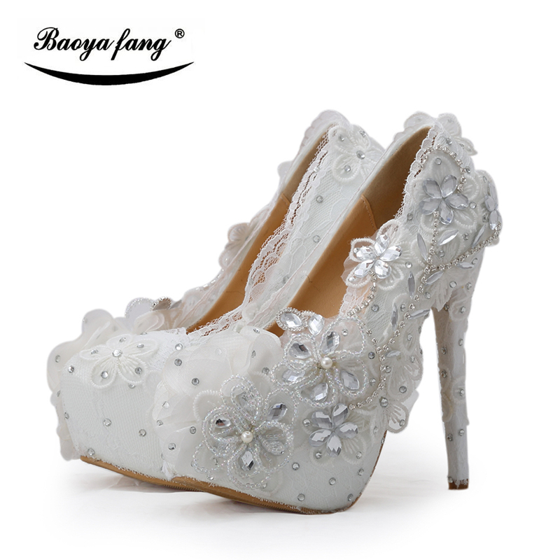BaoYaFang white flower crystal Womens wedding shoes Bride Lace High heels platform shoes woman Round toe party shoes  plus size baoyafang red crystal womens wedding shoes with matching bags bride high heels platform shoes and purse sets woman high shoes