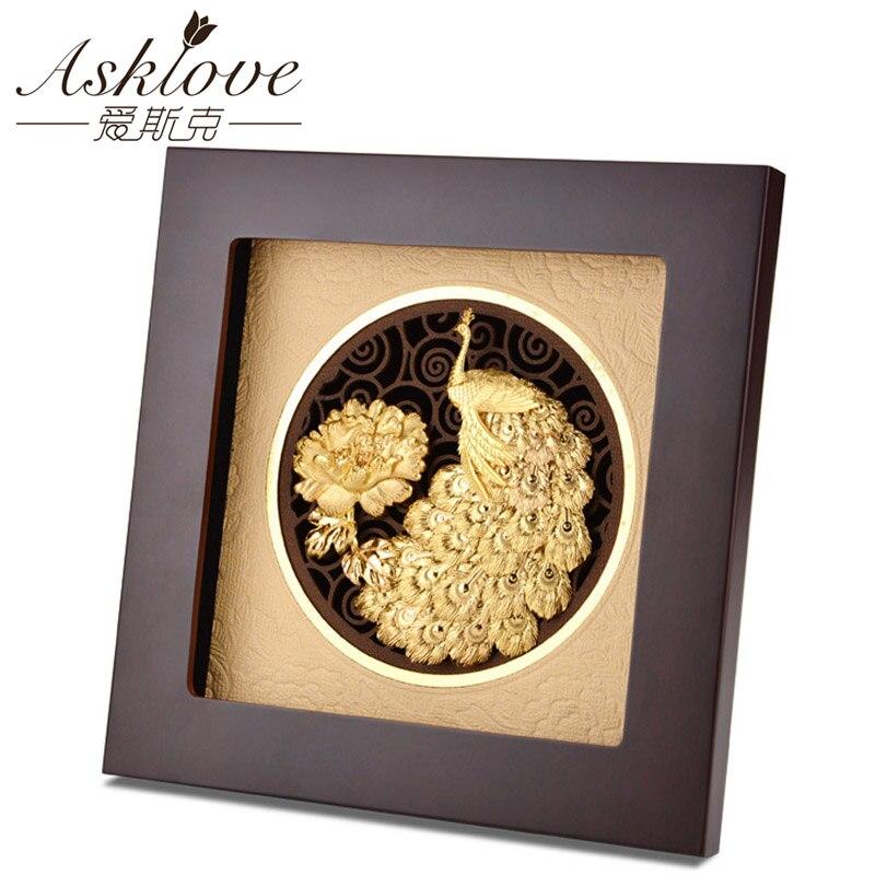 Asklove doré paon photos mur art feuille d'or peinture ami cadeau mur photos pour salon avec cadre maison décorative