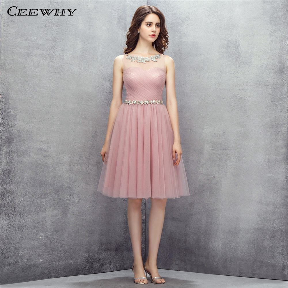 CEEWHY Crystal Beading Formal   Dress   Knee Length Applique Prom   Dress   Party Gown for Womens Pleated Short   Cocktail     Dresses