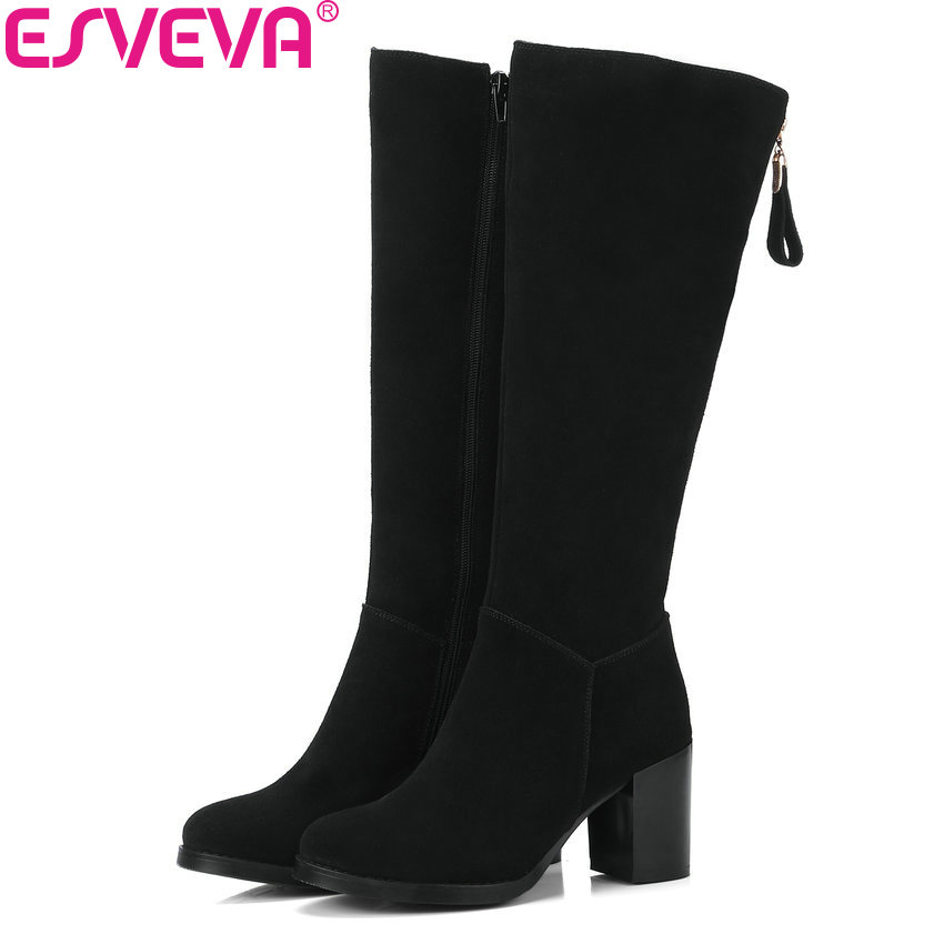 ESVEVA 2018 Women Boots Round Toe Western Style Cow Suede Short Plush Knee-high Boots Square High Heels Ladies Boots Size 34-39 esveva 2018 women boots sweet style zippers square high heels pointed toe ankle boots chunky short plush ladies shoes size 34 39