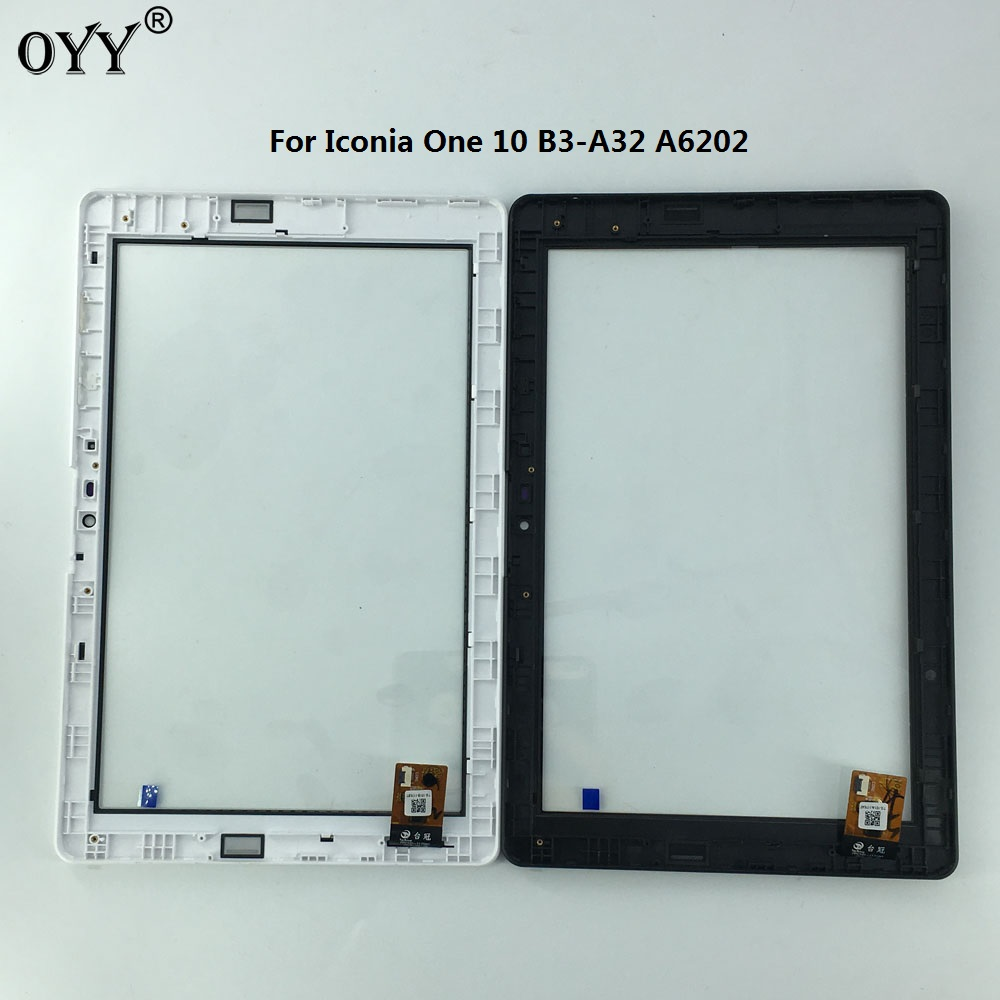 touch Screen Digitizer Glass Panel with frame Replacement Parts For Acer Iconia One 10 B3-A32 A6202 replacement touch screen digitizer glass for lg p970 black