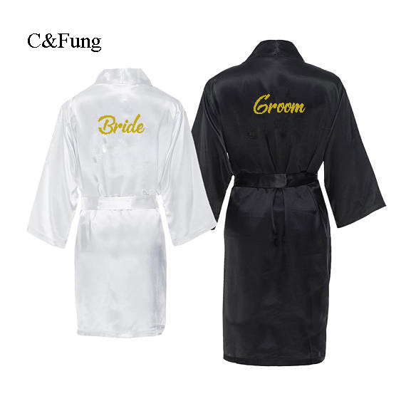 Men's Sleep & Lounge Original C&fung Personalized Groom Robes Monogrammed Bride And Groom Robe Couples Wedding Matching Gift His & Hers Robes