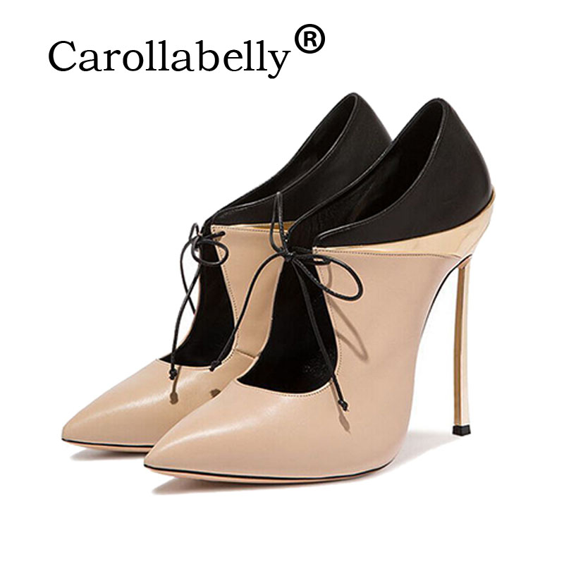Carollabelly Color Mixing Pointed Toe Super High Heel Ladies Office Shoes Women Wedding Shoes Dress Shoes Ankle Boots