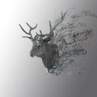 Muur Opknoping Deer Head Elk 3D DIY Model Hout Dier Wildlife Sculptuur Beeldjes Gift Ambachten Home Decor Ambachten