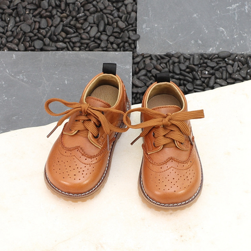 Snoffy Genuine Leather Children Casual Shoes Brogue British Girls Boys Leather Shoes Bullock Spring Kids Flat School Shoes TX389