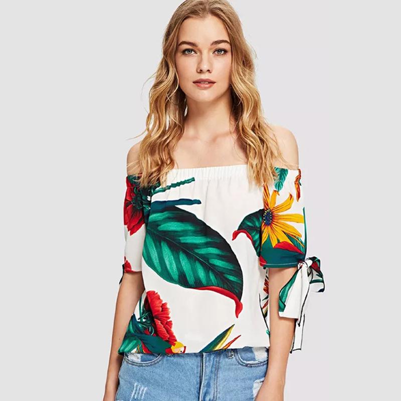 46ea4cec61f23 Linen Elastic Off The Shoulder Loose Female T Shirt Bow Half Sleeve ...