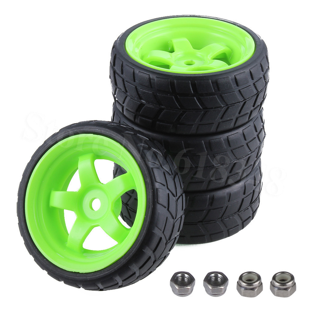 4Pcs / lot RC Dæk Hjul 26mm Hex 12mm Med Nylon Lås Nut M4 For 1/10 På Road Car HSP HPI Himoto Redcat Tamiya Racing