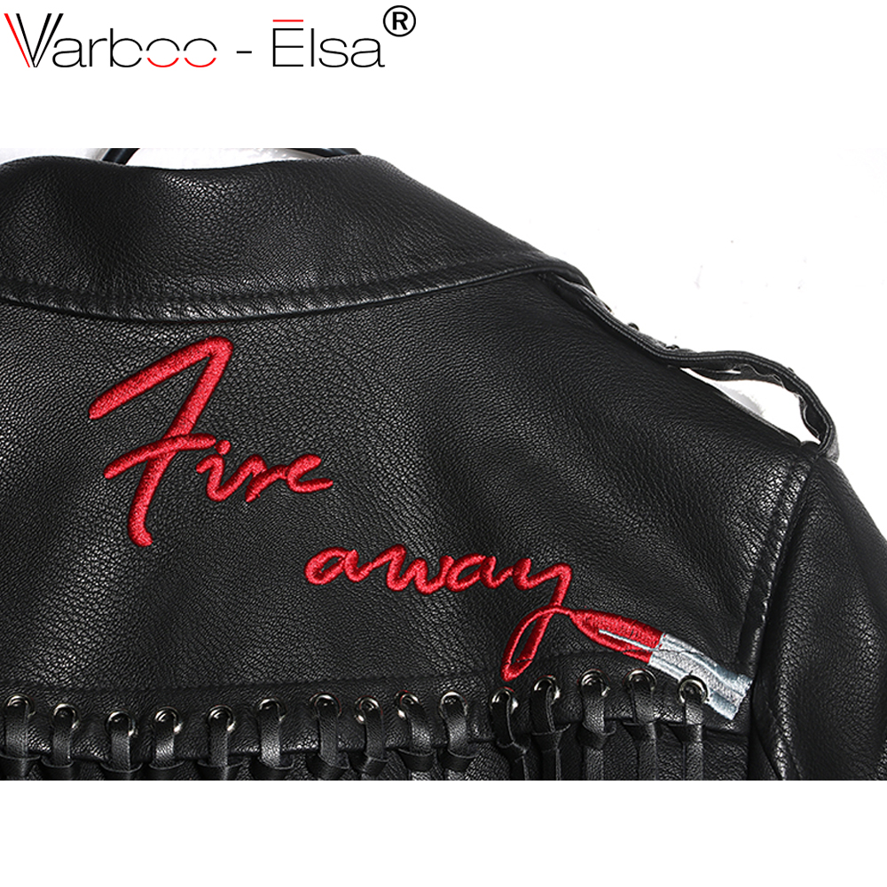 c22b7284a VARBOO ELSA 2017 Women Punk Party Street Letter embroidery Leather ...