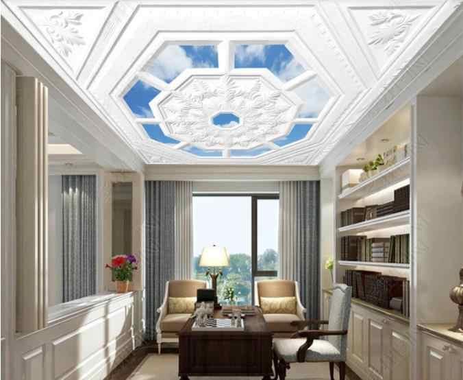 На заказ 3D потолочные обои белые европейские резные голубое небо и белые облака 3d потолочные обои для стен 3 d