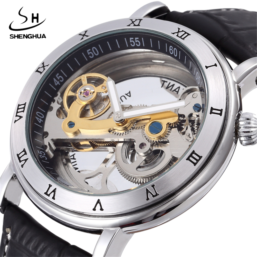 2017 SHENHUA Punk Silver Case Transparent Skeleton Clock Crystal Inlaid Men Automatic Hollow Movement Mechanical Wrist