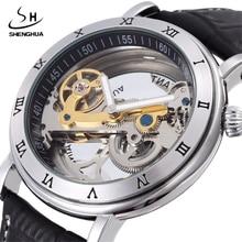 2017 SHENHUA Punk Silver Case Transparent Skeleton Clock Crystal Inlaid Men Automatic Hollow Movement Mechanical Wrist Watch