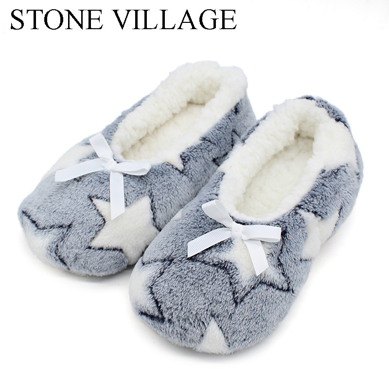 Winter Women Star Flock Soft Plush Slipper Winter Shoes Woman Butterfly-Knot Indoor Floor Shoes Women Slipper Shoes Pink Navy tolaitoe new winter warm home women slipper cotton shoes plush female floor shoe bow knot fleece indoor shoes woman home slipper