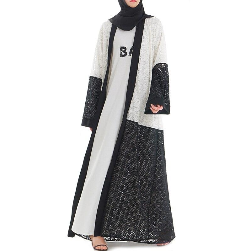 Babalet femmes musulman stéréo dentelle Robe ouverte islamique arabe haut de gamme Cardigan lâche mince longue Robe coton prévenir les rides