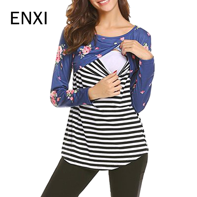 ENXI Clothes 2018 Spring Autumn Feeding Tops Pregnant Women Casual Long Sleeve T-shirts Nursing Tees Plus Size