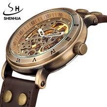 レトロ中空スケルトン自動機械式時計の男性のスチームパンクブロンズ革ブランドユニークな自己風機械式腕時計