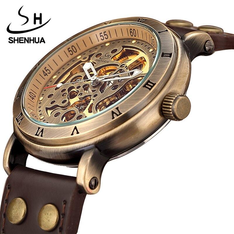 Retro Hohl Skeleton Automatische Mechanische Uhren männer Steampunk Bronze Leder Marke Einzigartige Selbst-wind Mechanische Armbanduhren