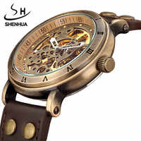Retro Hollow Skeleton Automatic Mechanical Watches Men's Steampunk Bronze Leather Brand Unique Self-wind Mechanical Wristwatches