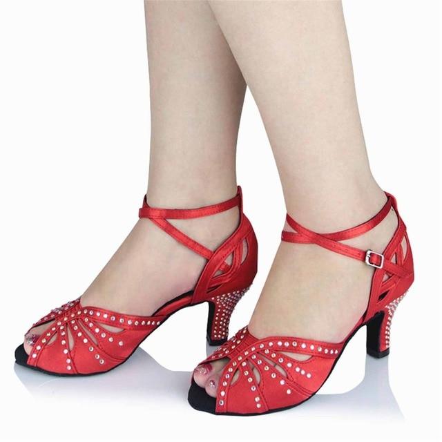 188034df Latino danza Zapatos mujeres tan nude rojo plata negro amarillo Tacones  diamante zapatos de baile Latino