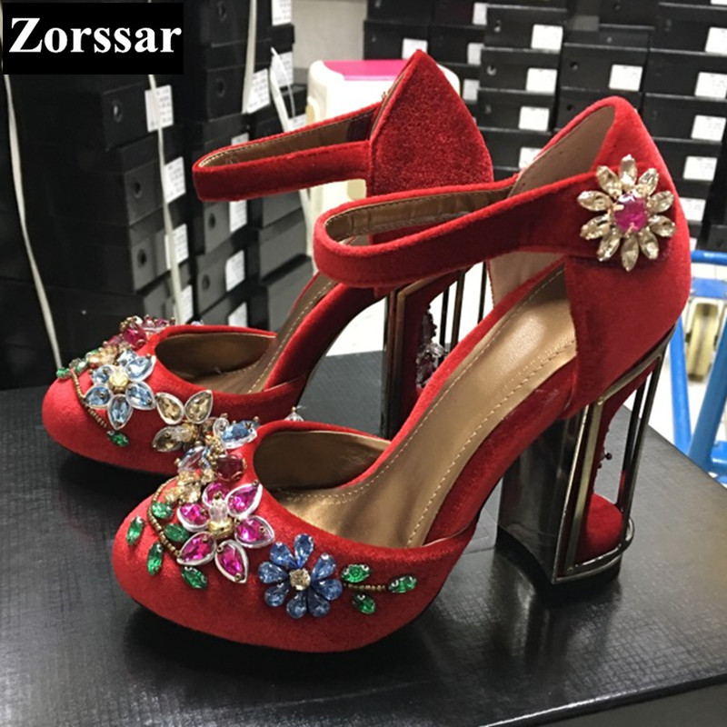 Green Summer Womens Shoes rhinestone High heels sandals Women Pumps shoes 2017 Fashion Suede leather woman Ankle Strap shoes plus size 2017 new summer suede women shoes pointed toe high heels sandals woman work shoes fashion flowers womens heels pumps