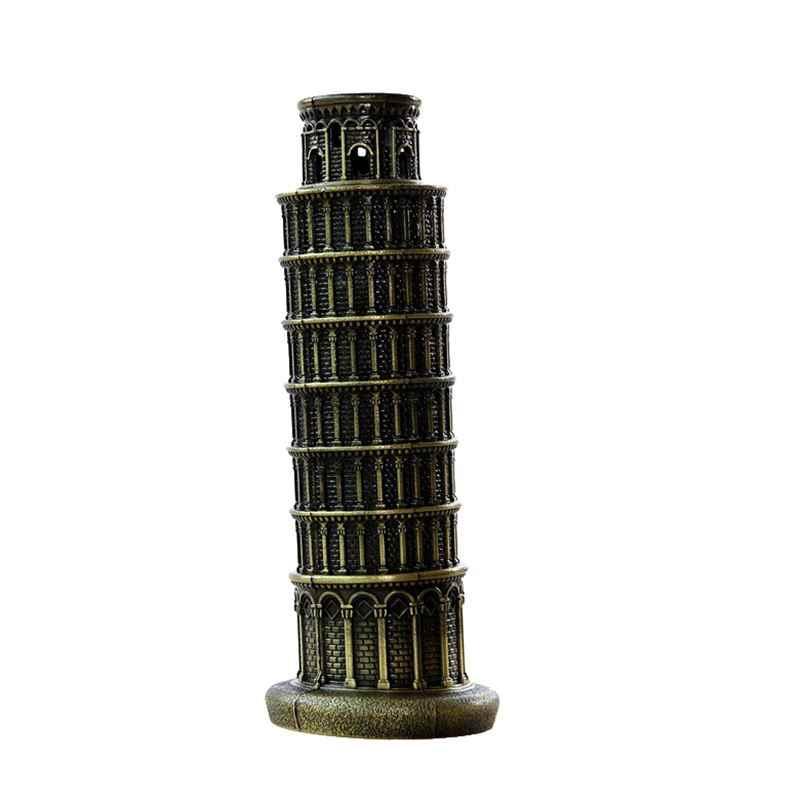 Европейская ретро Пизанская башня модель украшения Ремесло сувенирные статуэтки, миниатюры коллекция, домашний декор аксессуары
