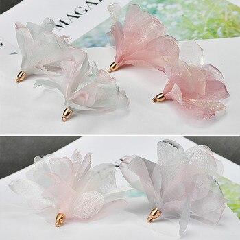Handmade DIY earrings, fresh, sweet, multicolored Chiffon Satin Flower Pendant, homemade Earrings accessories