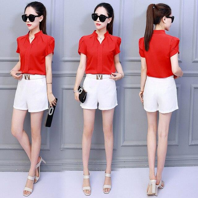 Korean Fashion Womens Tops and Blouses Chiffon Women Blouses Short Sleeve White Shirts Plus Size XXL Ladies Tops 6