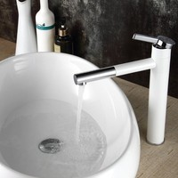 1PCS White Single Handle Basin Waterfall Brass Faucets Bathroom Faucet Sink Basin Mixer Tap JF1835