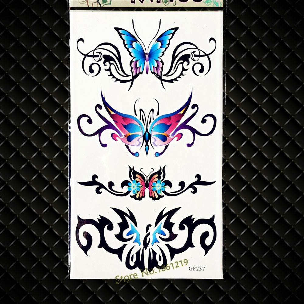 Kids 3D Cartoon Butterfly Temporary Tattoo Women Body Art Arm Hands Legs Makeup Tattoo Stickers GGF237 Inspired Fake Tattoo