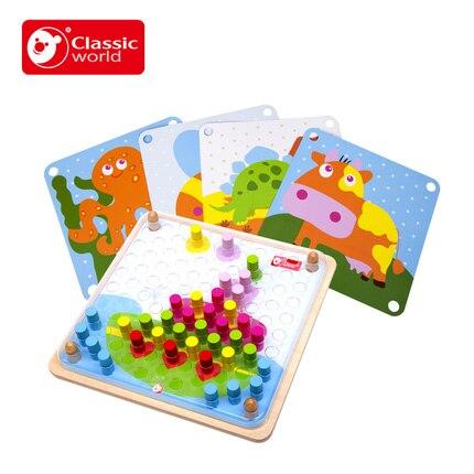 Monde classique chevillé couleur assortie conseil en bois enfants jouet jouets éducatifs Puzzles pour enfants couleur apprendre