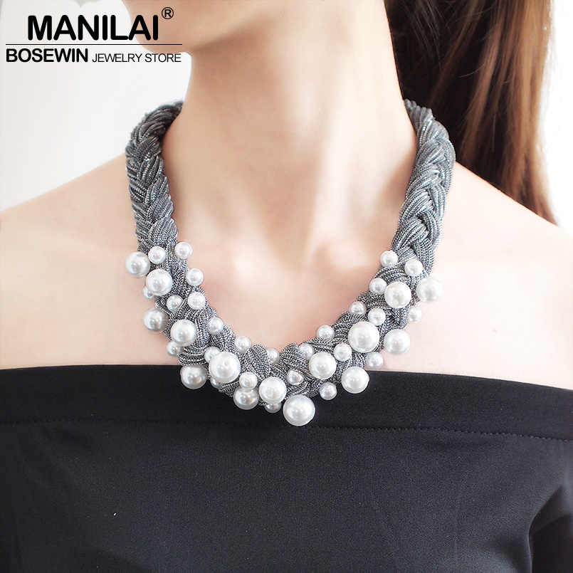 MANILAI Big Imitation Pearl Chokers Necklaces For Women Boho Handmade Thick Rope Statement Necklaces Jewelry Gift