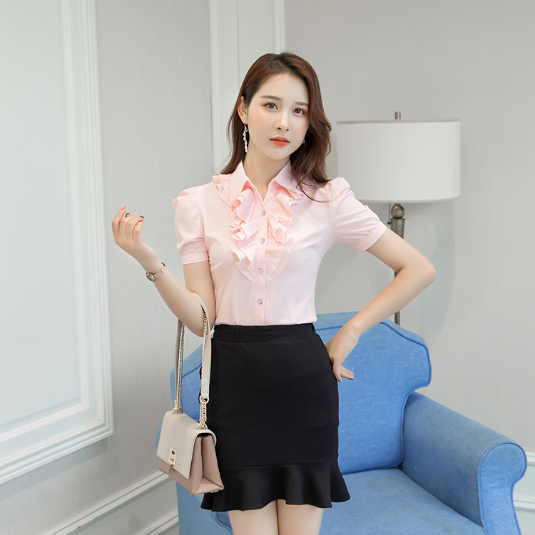 Púrpura Grande Talla Camisas Camisa Casual Tops Corta 5xl De Blusas Blusa Negro Trabajo rosado Verano Oficina Gasa blanco Blanca Manga púrpura qpfzOt
