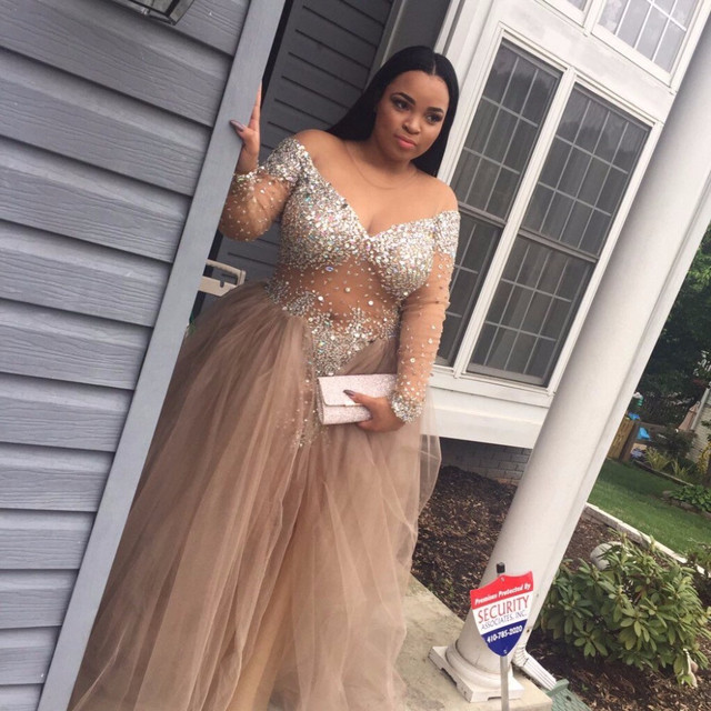new plus size prom dresses see through sexy luxury beaded crystal