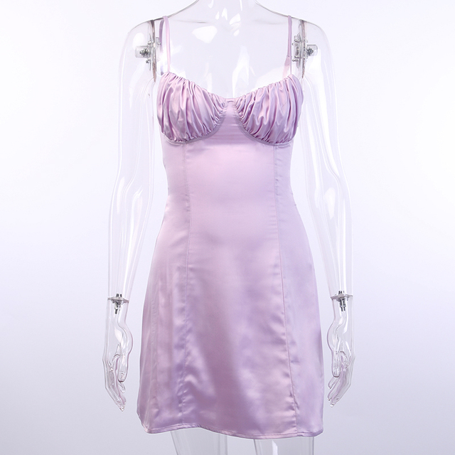 WannaThis Spaghetti Straps V Neck Silk Satin High Waist Dress 2019 Summer Backless Elegant Sexy Casual Party Club Dresses 4