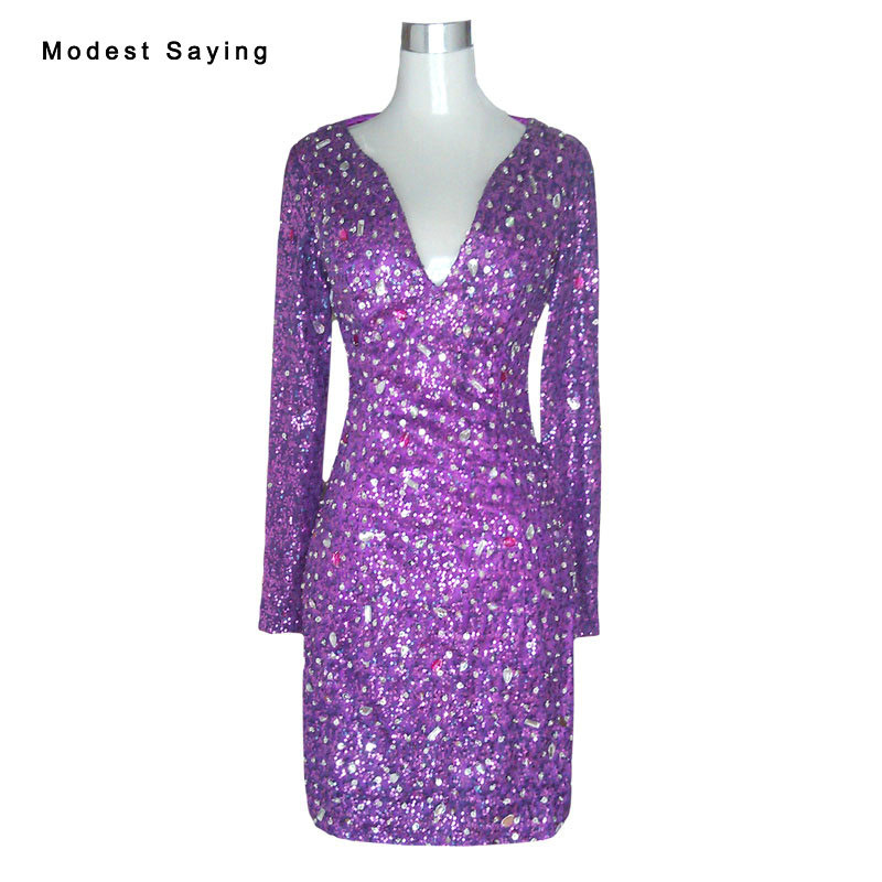 Sexy V Neck Purple Long Sleeves Rhinestone Mini   Cocktail     Dresses   2017 Formal Women Short Party Prom Gowns vestido de coctel YC32