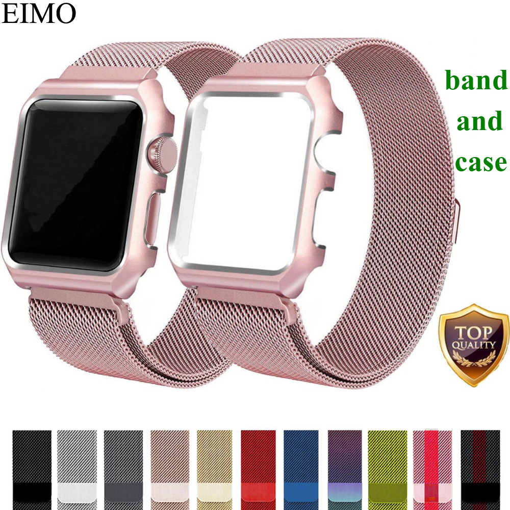 EIMO Milanese Loop Strap For Apple Watch band 42mm 38mm Stainless Steel Link Bracelet Wrist Watchbands for iwatch 3/2/1 Case eimo silicone watch case strap for apple watch band 42mm 38mm bracelet wrist belt full screen protector case for iwatch 3 2 1