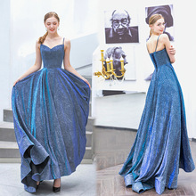 wedding dress dazzling haze blue Bride Wedding Toast birthday party evening dress