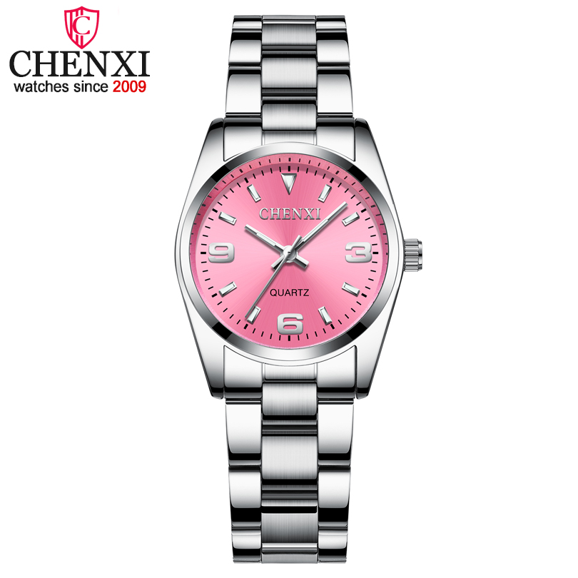 CHENXI Fashion Pink Dial Watches For Women 2018 High Quality Quartz Watch Elegant Dress Ladies Stainless Steel Wristwatches xfcs