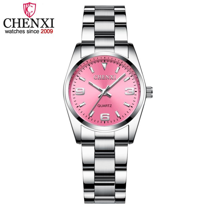 Relojes de esfera rosa de moda CHENXI para mujer 2018 reloj de cuarzo de alta calidad elegante vestido de mujer relojes de pulsera de acero inoxidable xfcs