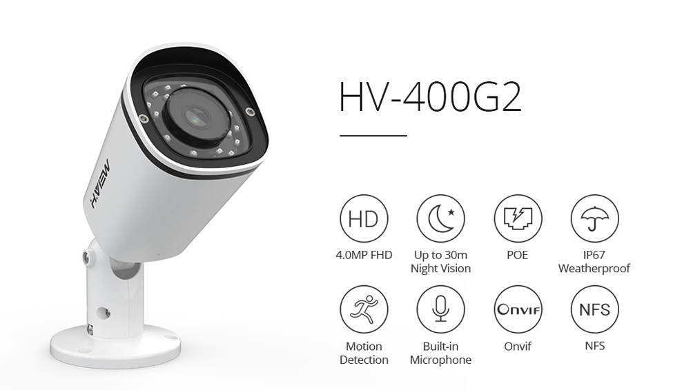 H.VIEW PoE IP Camera 4mp H.265 CCTV Camera PoE Cameras Outdoor Easy Access on iPhone Android Phone Onvif NAS IP Cameras (1)